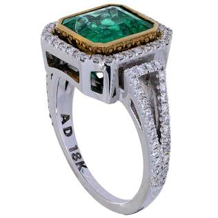 Emerald Diamond Engagement Ring Two Tone 18k White Gold Torrance South Bay Gold