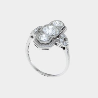 Diamond Vintage Engagement Ring on Platinum Old Miner Cut- South Bay Gold