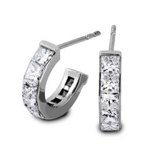 South Bay Gold Semi Huggies Princess Cut Diamond Earrings-Torrance