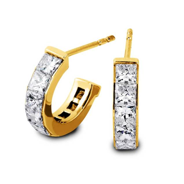 South Bay Gold South Bay Gold Semi Huggies Princess Cut Diamond Earrings-Torrance