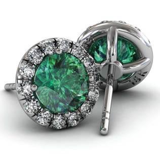 Classic U cut Halo Emerald Earrings - South Bay Gold