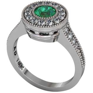 Emerald Beaded Halo Ring - South Bay Gold
