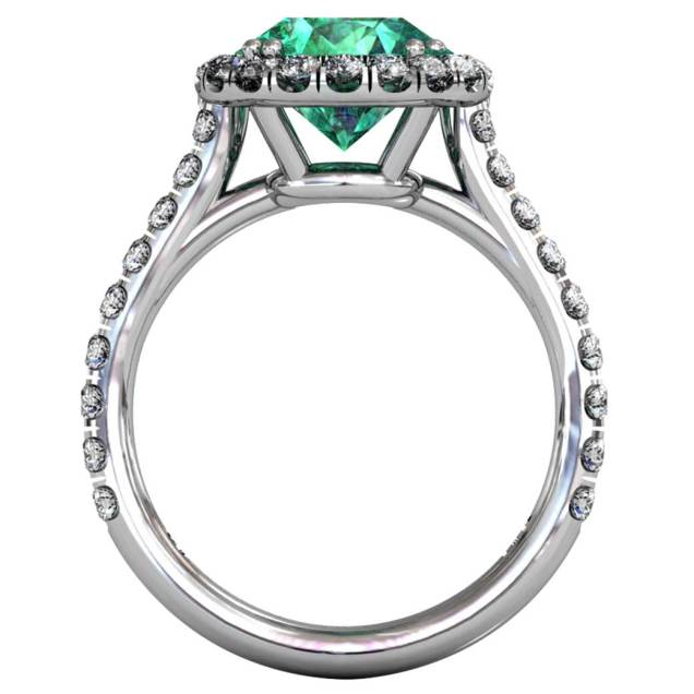 Emerald Classical U-cut Halo Ring - Front-View - South Bay Gold