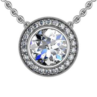 Modern Pave Halo Diamond Pendant - South Bay Gold