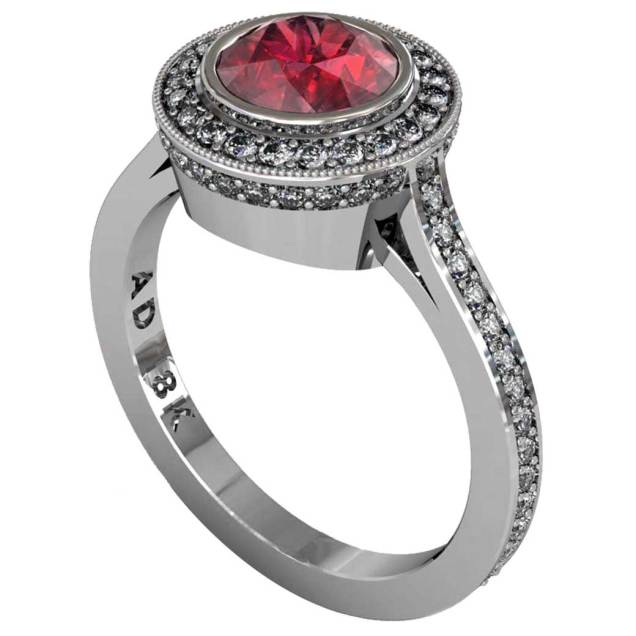 Ruby Modern Pave Halo Ring - South Bay Gold