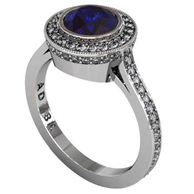 Sapphire Modern Pave Halo Ring - South Bay Gold