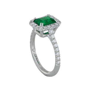 Emerald Diamond Halo Engagement Ring - White Gold - Wallis Simpson, -Jackie Kennedy, Halle Berry