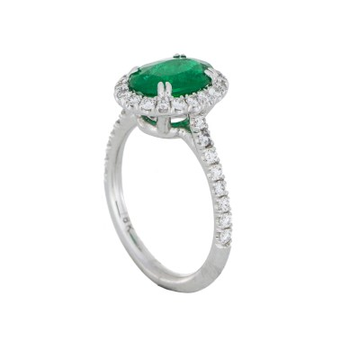 Emerald Diamond Halo Ring - White Gold - South Bay Gold -2- Compare With Ritani