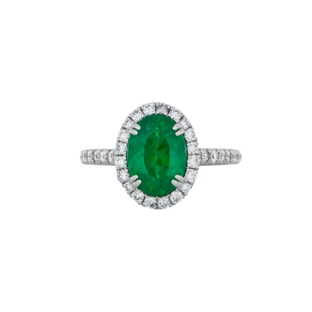 Emerald Diamond Halo Ring - White Gold - South Bay Gold -3- Compare With Ritani