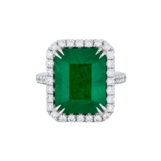 Emerald Diamond Halo Ring - White Gold - SBG - Los Angeles Best Jewelry Store