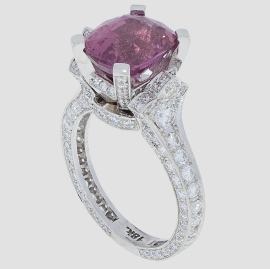 Pink Sapphire Diamond Ring - White Gold - Torrance Jewelry Store