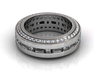 Wedding Bands Custom Design Channel Set 112 Stone 2.65 TCW Diamonds 14.30GR 18KT White Gold Torrance Jewelry Store