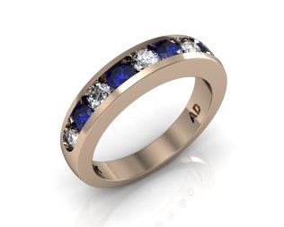 Wedding Bands Ladies Channel 9 Stone 1.0 TCW Diamonds and Blue Sapphire 6.1g 18kt Rose Gold South Bay Gold - Torrance