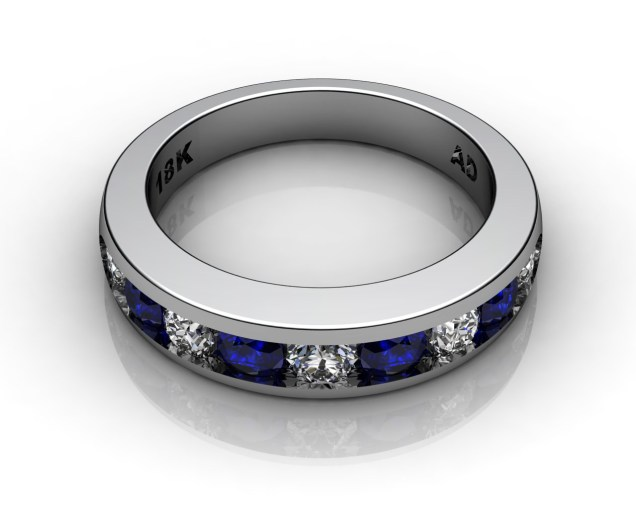 Wedding Bands Ladies Channel 9 Stone 1.0 TCW Diamonds and Blue Sapphire 6.1g 18kt White Gold South Bay Gold - Torrance