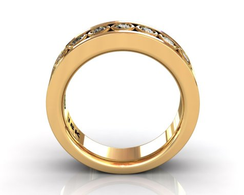 Wedding Bands Ladies Channel Bezel 7 Stone 0.41TCW Diamonds 12.62gr 18kt Yellow Gold South Bay Gold
