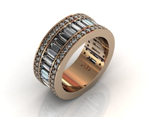 Wedding Bands Ladies Diamonds Channel Set 28 Stone 2.33 TCW Diamonds 14.87g 8kt Rose Gold - Southbay Gold