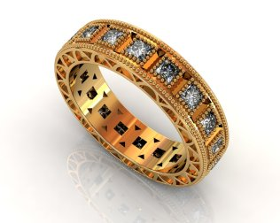 Wedding Bands Ladies Diamonds Channel Set 30 Stone 0.89 TCW Diamonds 9.35g 18kt Yellow Gold Torrance - South Bay Gold