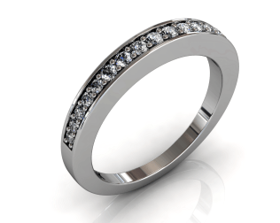 Wedding Bands Ladies Diamonds Pave´ 17 Stone 0.27TCW Diamonds 4.48GR 18KT White Gold Jewelry Store Torrance