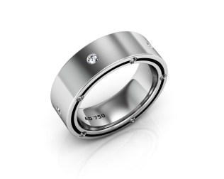 15 Stone Diamond White Gold Men's Wedding Bands