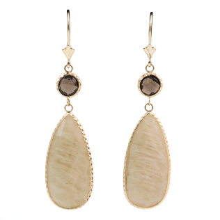 Smokey Quartz and Rutilated Quartz Teardrop Earrings 14K Yellow Gold Jewelry Store - SBG Los Angeles