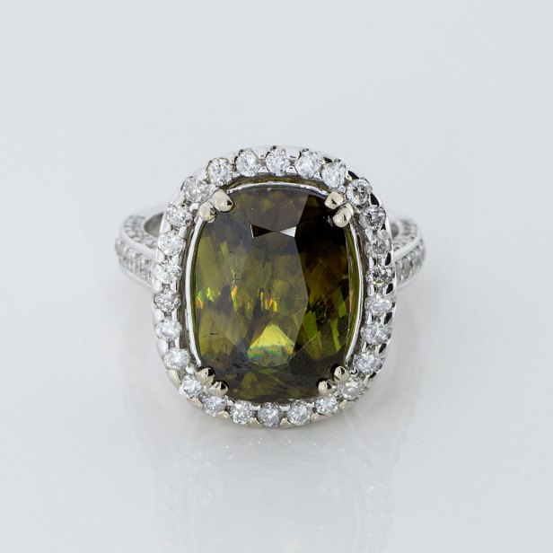 Sphene Diamonds White Gold Estate Ring Vintage Jewelry Store
