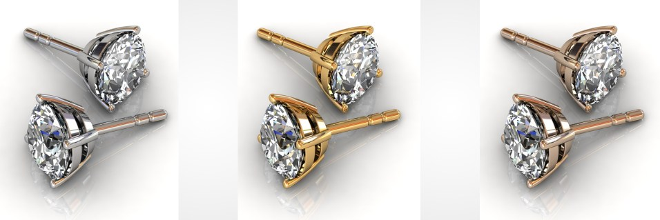 diamond stud earrings - in yellow, rose, or white gold