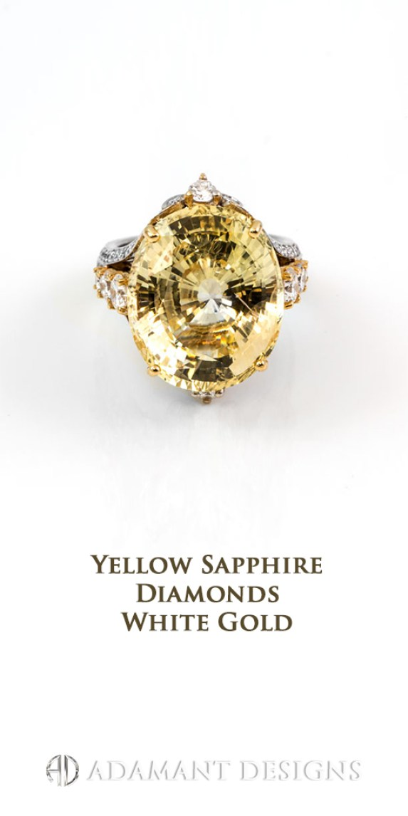 Adamantine Custom Design Yellow Sapphire Diamonds Rings - 90210