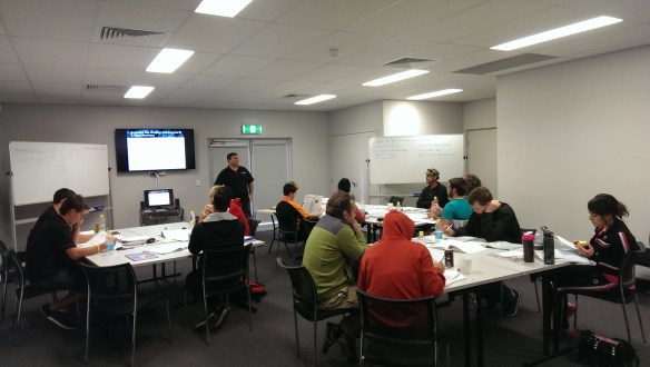 Probationary Fire Fighters from South Coogee and Jandakot listen in to Deputy Chief Mike Ricci teaching Fire Safety
