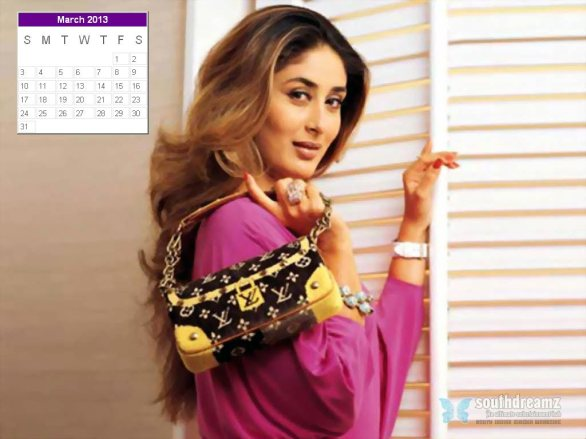 kareena kapoor desktop calendar march 2013 586x439 Kareena Kapoor calendar 2013 wallpaper