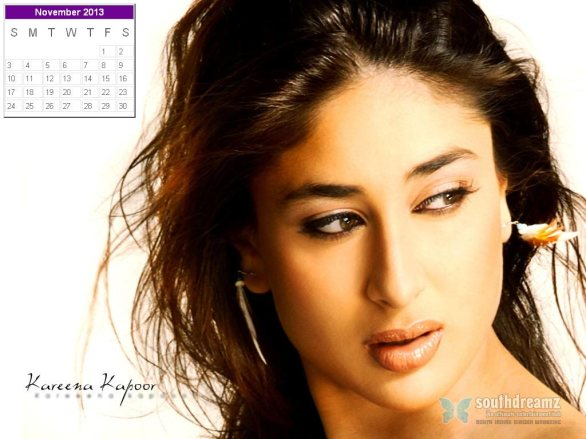 kareena kapoor desktop calendar november 2013 586x439 Kareena Kapoor calendar 2013 wallpaper