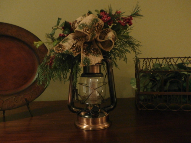 live holly and pine swag with wire mesh ribbon for christmas lantern decorations