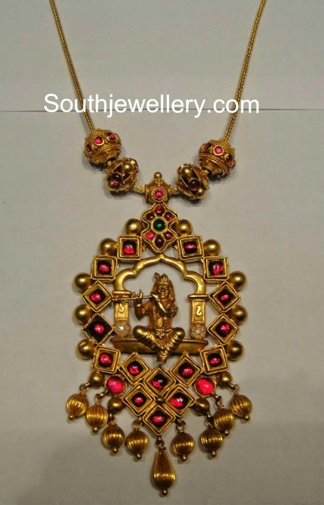 antique necklace with lord krishna pendant