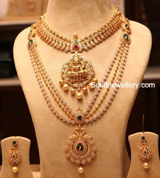 Diamond kasulaperu with pendant - Pacchi Necklace