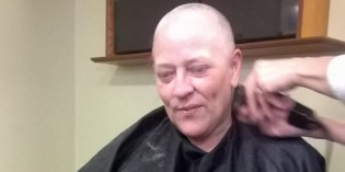 Donna 'braves a shave' for Macmillan