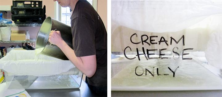 cream cheese draining