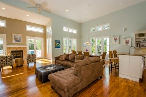 The open living and dining areas flow seamlessly.