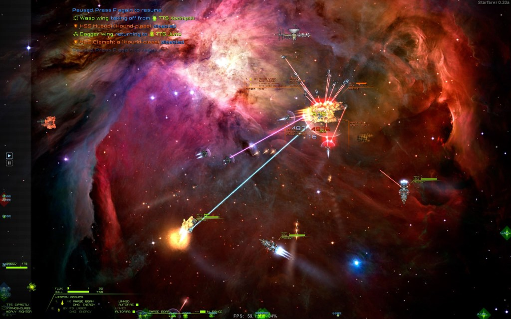 Starfarer screenshot with pretty explosions!