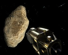 The ESA's Don Quijote mission upon impacting an asteroid (Credit: ESA - AOES Medialab).