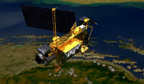 Artist's conception of NASA  Upper Atmosphere Research Satellite (UARS) (Credits: NASA).