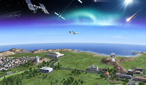 Artist's impression showing how radars, telescopes and networks on the ground can work in unison to detect space hazards including debris in orbit, harmful space weather and near-Earth objects (Credits: ESA - P. Carrill).