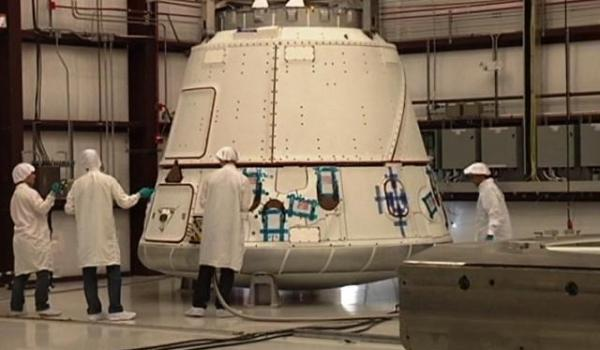 SpaceX's Dragon capsule at Cape Canaveral Air Force Station (Credits: NASA).