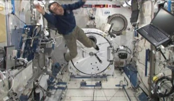 Flight Engineer Furukawa making a catch aboard ISS (Credits: NASA).