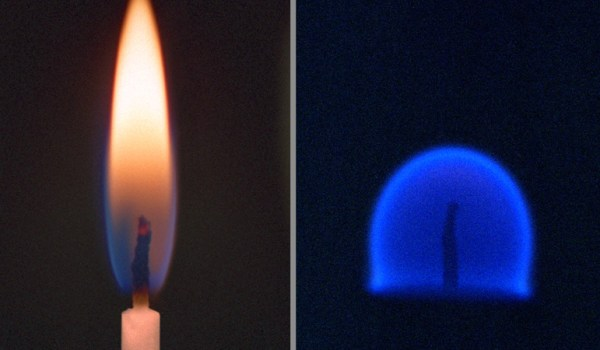 Comparison of flame under different gravity conditions. The flame on the left is in 1G, the flame on the right in microgravity. (Credits: NASA).