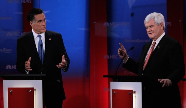 Republican nominee candidates Mitt Romney (left) and Newt Gingrich (right) debate in Florida on Jan 23rd (Credits: Getty Images)