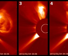 SOHO images of hte five solar storms Feb. 23-24 (Credits: NASA/SOHO/H. Zell).