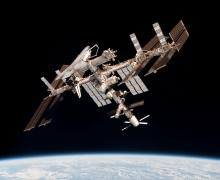 This image of the International Space Station with the docked Europe's ATV Johannes Kepler and Space Shuttle Endeavour was taken by Expedition 27 crew member Paolo Nespoli from the Soyuz TMA-20 following its undocking on 24 May 2011 (Credits: ESA).