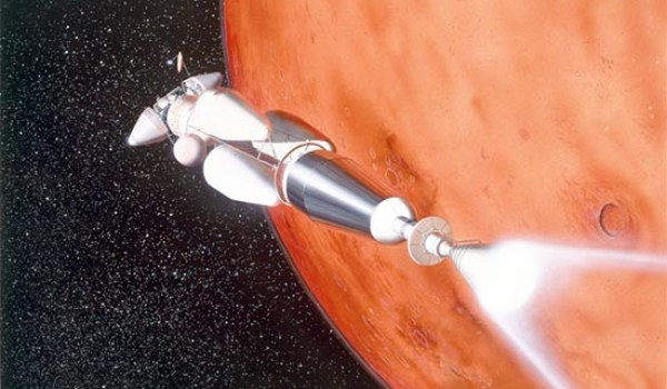 Artist's conception of a nuclear thermal rocket for interplanetary missions (Credits: Pat Rawlings for NASA)