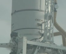 Antares second stage umbilical interface (Credits: NASA TV / Spaceflight 101).