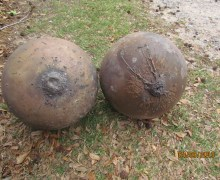 The first and third spheres found on the property of Dean Gentz and Trac Ellis, pictured side-by-side (Credits: Dean Gentz).