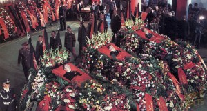 The lavish funerals of the Soyuz 11 crew highlighted the enormous sense of loss felt by the Soviet people. The three men had become national, and international, heroes (Credits: Joachim Becker/SpaceFacts).